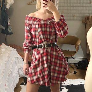 Off-the-Shoulder Plaid Dress